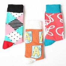 2019 fashion men cotton pattern crew socks of happy sock casual harajuku designer brand novelty art funny short with print