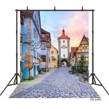 Old Town Street Photography Backgrounds for Photo Studio Vinyl Cloth Portrait Photo Backdrops for Kids Baby Photobooth Photocall
