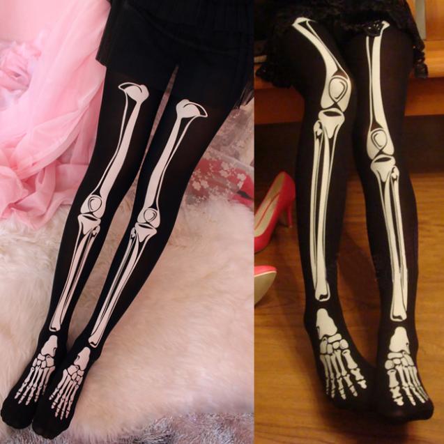 womens halloween skeleton bone printed pants pantyhose leggings stockingschina mainland - Halloween Tights For Women