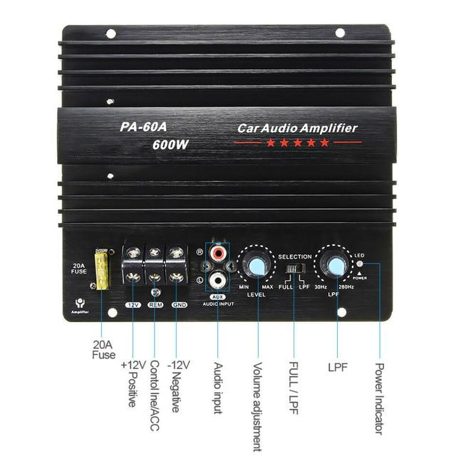 12V 600W PA-60A Sound Accessories HIFI High Power Durable Amplifier Board Car Audio Bass Mono Channel Module Subwoofer Speaker 1