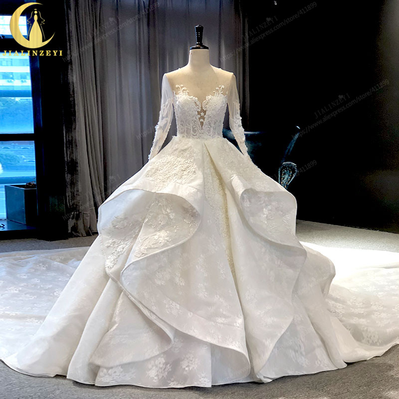JIALINZEYI Real Picture Lace Appliques Long Sleeves With Flowers Long Train Bridal Wedding Dresses Wedding Gown 2019