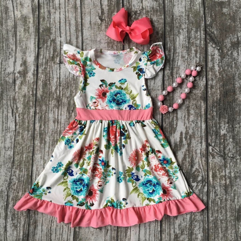 summer cotton design new baby girls kids boutique clothes coral dress sets mint floral ruffles with matching accessories set 2016 summer baby child girls outfits ruffles shorts white striped watermelon boutique ruffles clothes kids matching headband set
