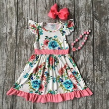 summer cotton design new baby girls kids boutique clothes coral dress sets mint floral ruffles with matching accessories set
