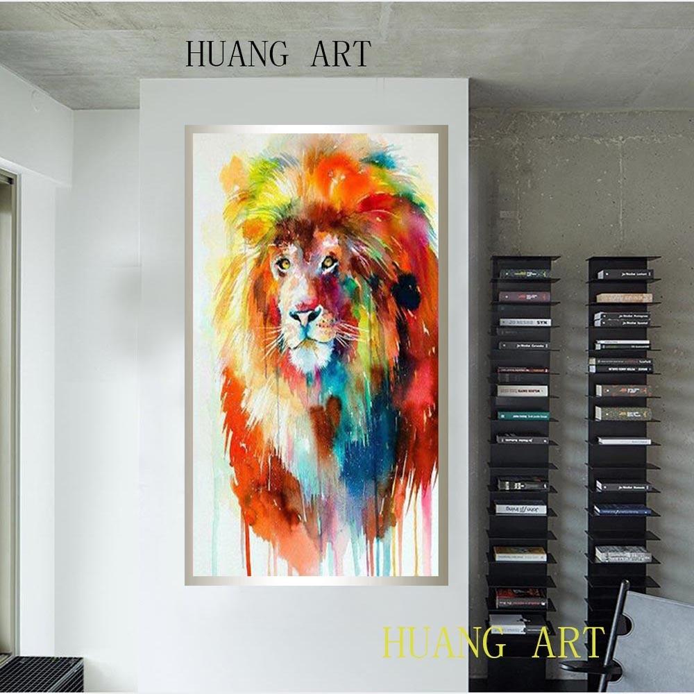 Красный Лев, животное, Современная продажа, ручная роспись маслом, картина от руки, кисти в традиционном китайском лобби, украшенные гостиницей и фам - 6
