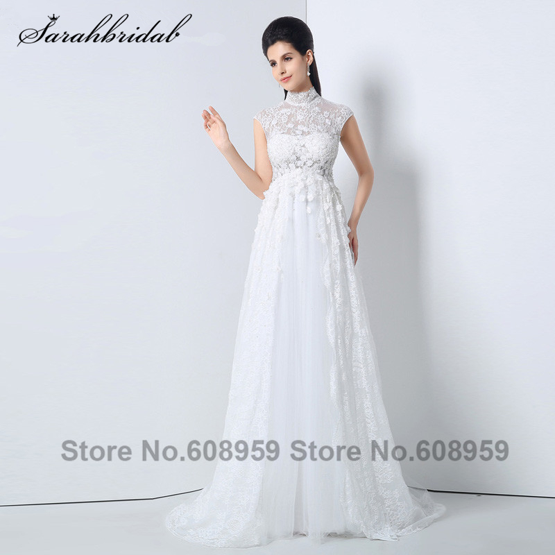 Elegant Lace Flowers High Neck Formal   Evening     Dresses   White A-line Prom   Dresses   Special Occasion   Dresses   Robe De SoireJS012