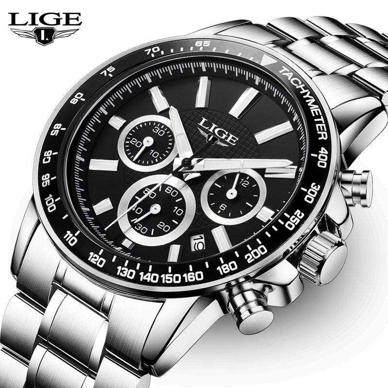LIGE Sport Watch Men Quartz Wristwatch Waterproof Chronograph Army Military Black Male Clock Steel Band Relogio Masculino Box 27 high quality mens business quartz watch men sport military watch pu leather strap army wristwatch male casual clock hour relogio