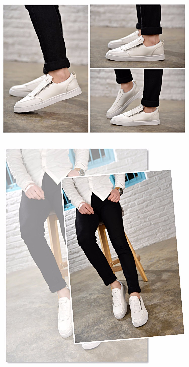 BODNSN Casual Men\'s Skate Shoes Zip Leather Flats 2016 New Solid Round Toe Men\'s Flat Shoes Breathable Fashion Man Shoes PX43 (8)