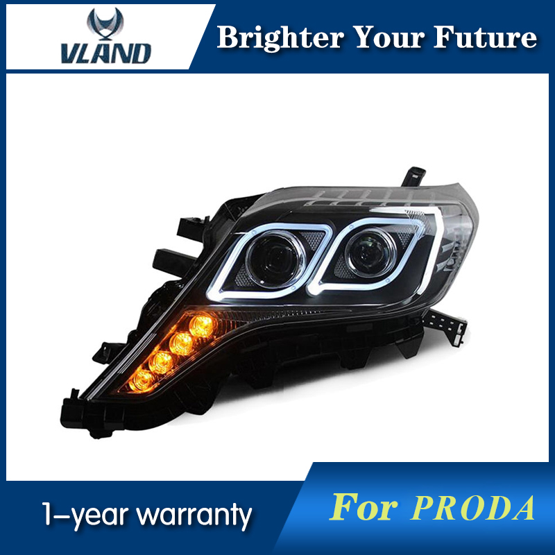 LED Headlight for Toyota Prado 2014 2015 2016 LED Headlamp HID DRL Xi-Beam Light hireno headlamp for 2016 hyundai elantra headlight assembly led drl angel lens double beam hid xenon 2pcs