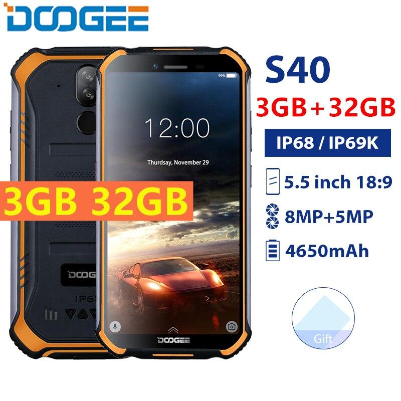 Купить Оригинальный DOOGEE S40 4G смартфон IP68/IP69K водонепроницаемый 5,5 дюймов MT6739 3 ГБ 32 ГБ 4650 мАч 8MP Android 9,0 NFC Лицо ID мобильный телефон на Алиэкспресс