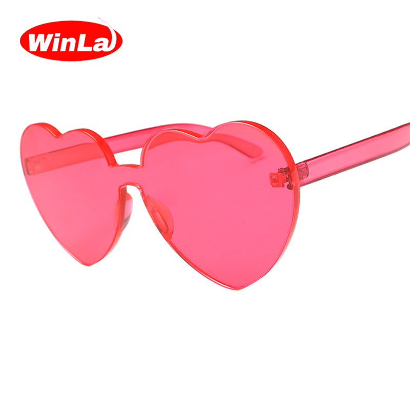 Winla Fashion Design Women Sun Glasses Special Heart Shape Lens Funny Sunglasses For Female Stylish Lady Gafas Eyewear WL1214