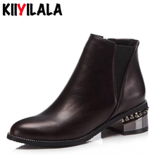 Kiiyilala Elastic Band Women Short Boots Square Heel Ankle For Pointed Toe New Autumn With Zipper