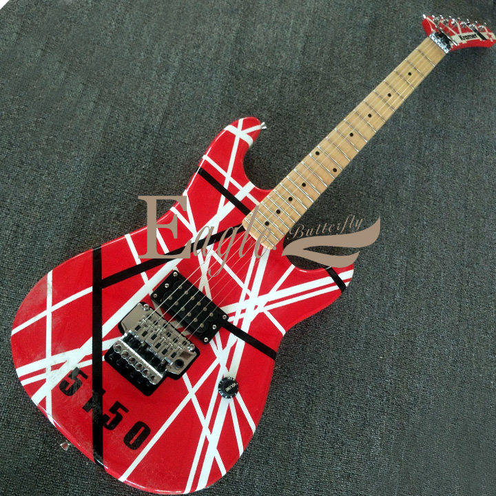 Eagle. Butterfly Electric Guitar Bass Custom Shop Kramr Electric Guitar EVH 5150 Red And White Striped Guitar In Stock
