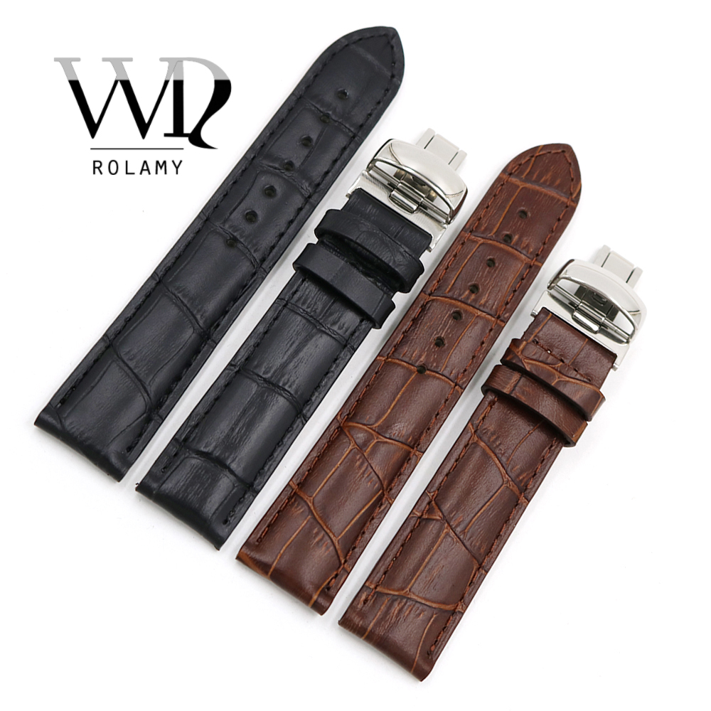 Rolamy 19mm Black Brown Genuine Leather Replacement Watch Band <font><b>Strap</b></font> Bracelet For <font><b>PRC200</b></font> T17 T461 T014430 T014410 image