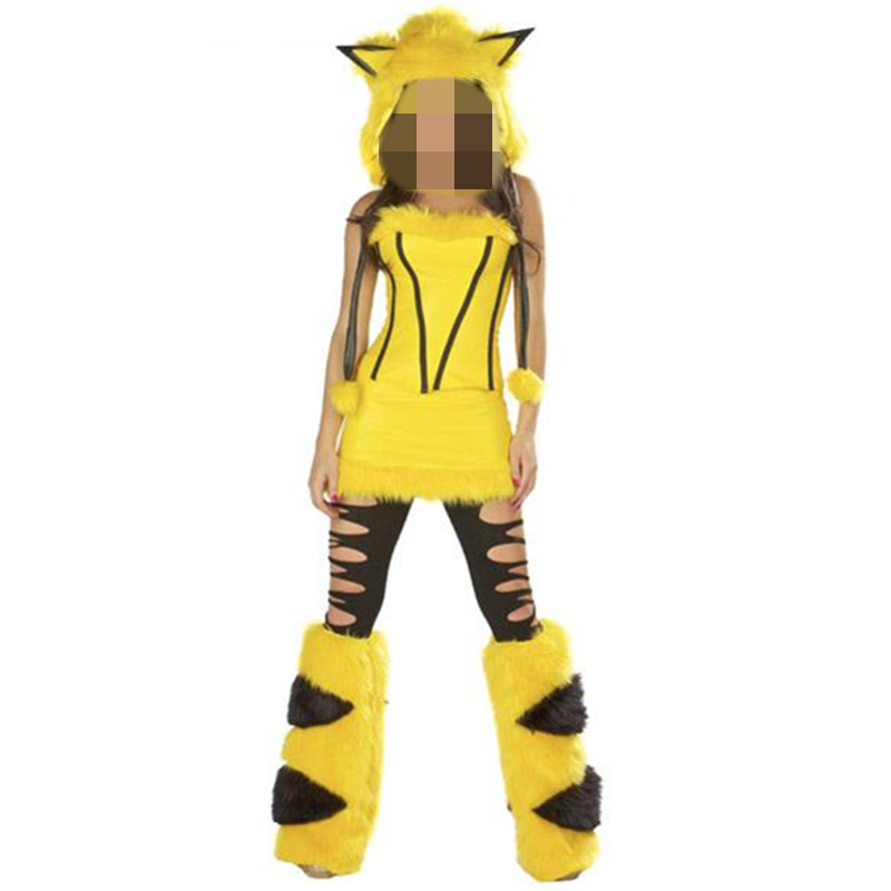 Adult Woman Yellow sleeveless Furry Sexy Cosplay Pikachu Halloween Costume Lovely Womens Animal Costumes Christmas Costume Furry