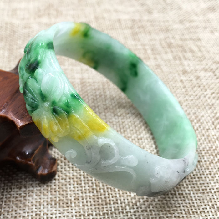 все цены на FREE SHIPPING>>>@@ A-134 Beautiful Hand-carved Green stone stone Gems Bracelet Bangle 60mm NEW онлайн