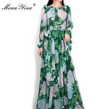 MoaaYina-Vestido largo informal de manga larga para mujer, vestido largo bohemio con estampado Floral de hojas verdes para fiesta de verano