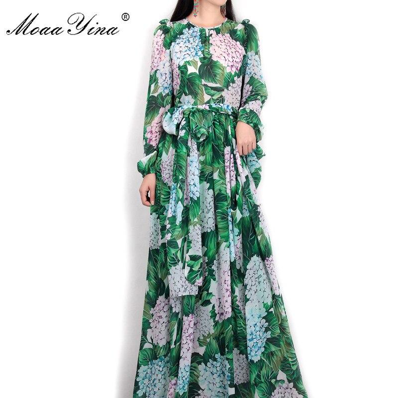 MoaaYina Summer Runway Maxi Dress Womens Long Sleeve Casual Bohemian Party Holiday Green Leaves Floral Printed Long Dress
