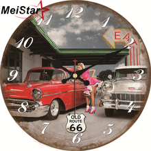 MEISTAR 7 Patterns Vintage Car Design Clocks Silent Living Room Home Kitchen Office Wall Decor Watches Art Large
