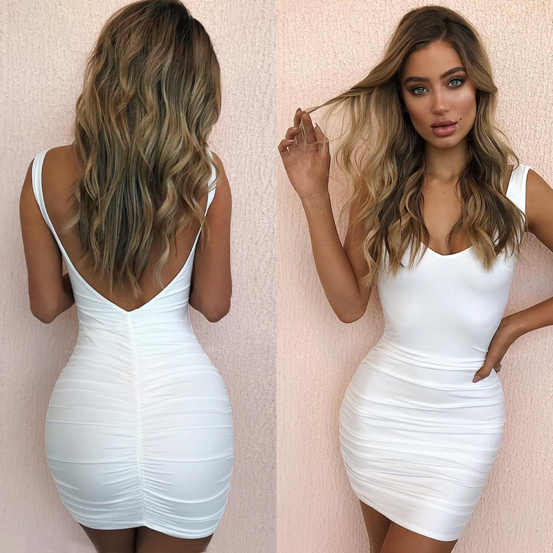 new arrival 2019 clothes ruffle short tube dress white backless dress halter mini v neck dress <font><b>festival</b></font> <font><b>sexy</b></font> <font><b>club</b></font> wear dresses image