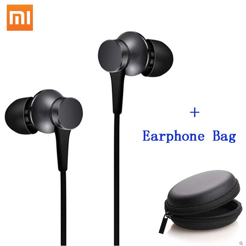 Xiaomi Mi Piston Earphones Basic with Microphone Handsfree Wire Control In-Earphone Noise Cancelling earphone + earphone bag oringal xiaomi piston basic 3 5mm wire control earphone 1 25m music headset for ios android black