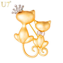 U7 Lovely Crown Bow Tie Two Cats Brooch Banquet Accessories Women Jewelry Party Gift Gold/Black Color Animal Cat Brooch Pin B134(China)