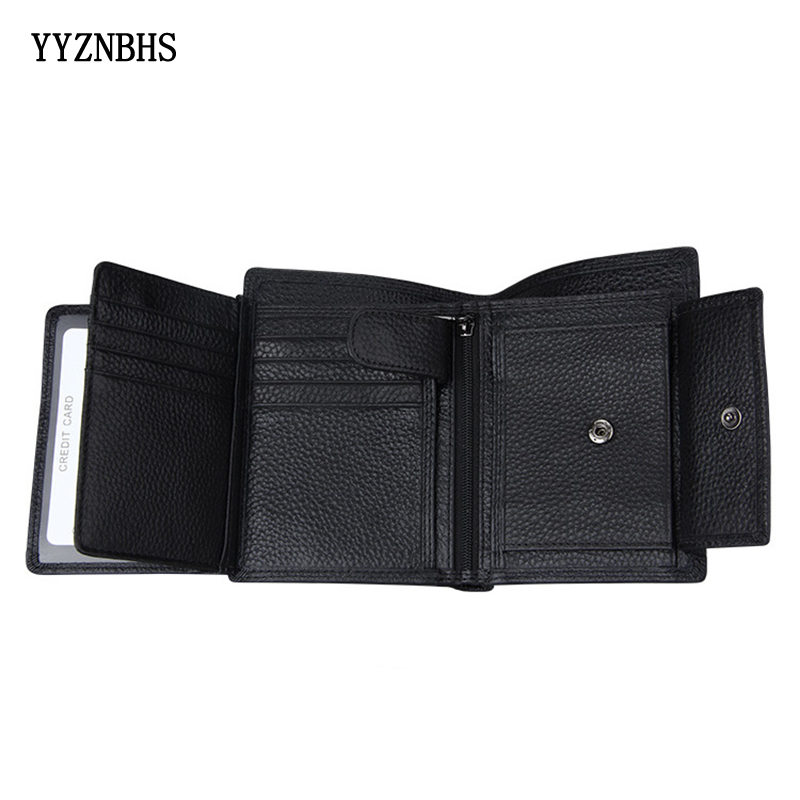 Hot Men Wallet Genuine Leather Short Wallets Male Multifunctional 3 Fold Cowhide Wallet Male Purse Coin Pocket Photo Card Holder