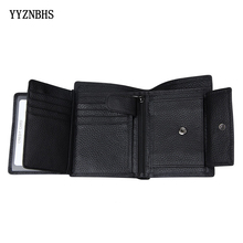 цена на Hot Men Wallet Genuine Leather Short Wallets Male Multifunctional 3 Fold Cowhide Wallet Male Purse Coin Pocket Photo Card Holder