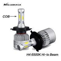 MALUOKASA 2PCs S2 Car COB H7 LED Headlight Bulb H1 HB2 9003 H4 Hi Lo Beam