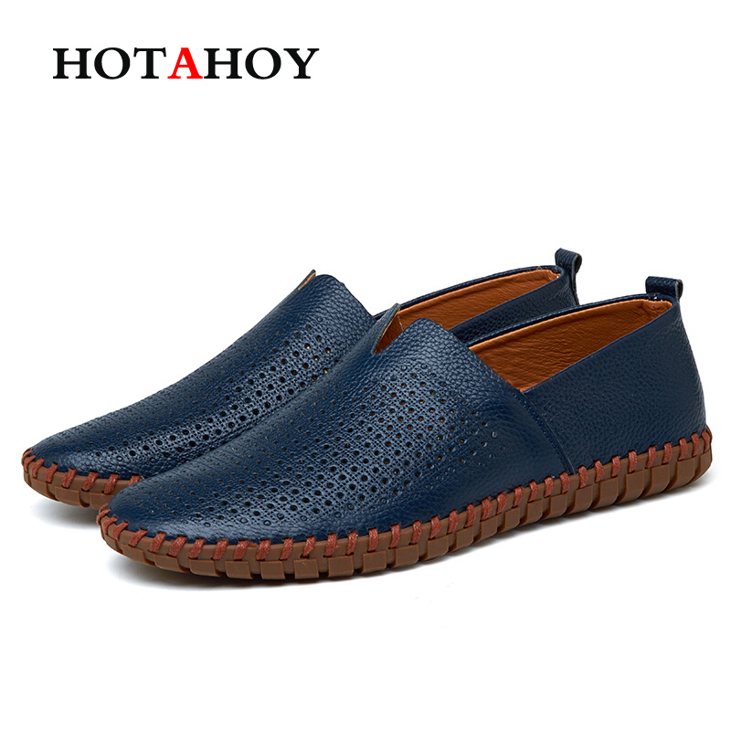 New Mens Genuine Leather Fashion Casual Shoes Slip on Handmade Loafers Flat Breathable Shoe Big Size 38~47 Loafers Doug Shoes pl us size 38 47 handmade genuine leather mens shoes casual men loafers fashion breathable driving shoes slip on moccasins