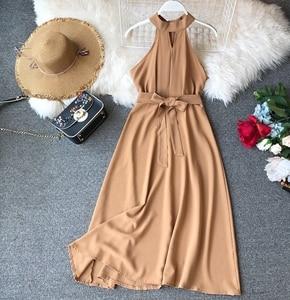 Image 4 - FMFSSOM Women Sexy Hanging Neck Dress 2020 New Summer Ladys O Neck Sleeveless With Belt Medium Long Slim Dresses