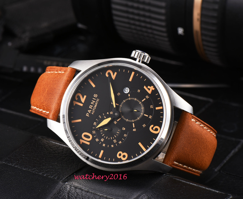 Romantic gifts 43mm PARNIS Black Dial Stainless steel Case Leather strap Orange marks Luxury Brand Automatic Movement mens WatchRomantic gifts 43mm PARNIS Black Dial Stainless steel Case Leather strap Orange marks Luxury Brand Automatic Movement mens Watch