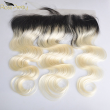 Ross Pretty Remy Lace Frontal Peruvian hair Body Wave Ombre Color 1b blonde Ear to Ear 13x4 Human Hair lace front 1b//613 цена 2017