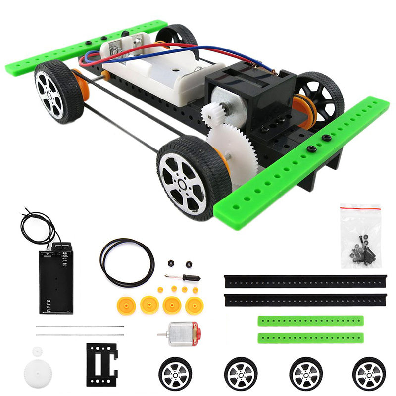 New Arrival Self Assembly DIY Battery Powered Mini Car Model Kit Children Kids Educational Not Remote Tontrol Toy Car Gift