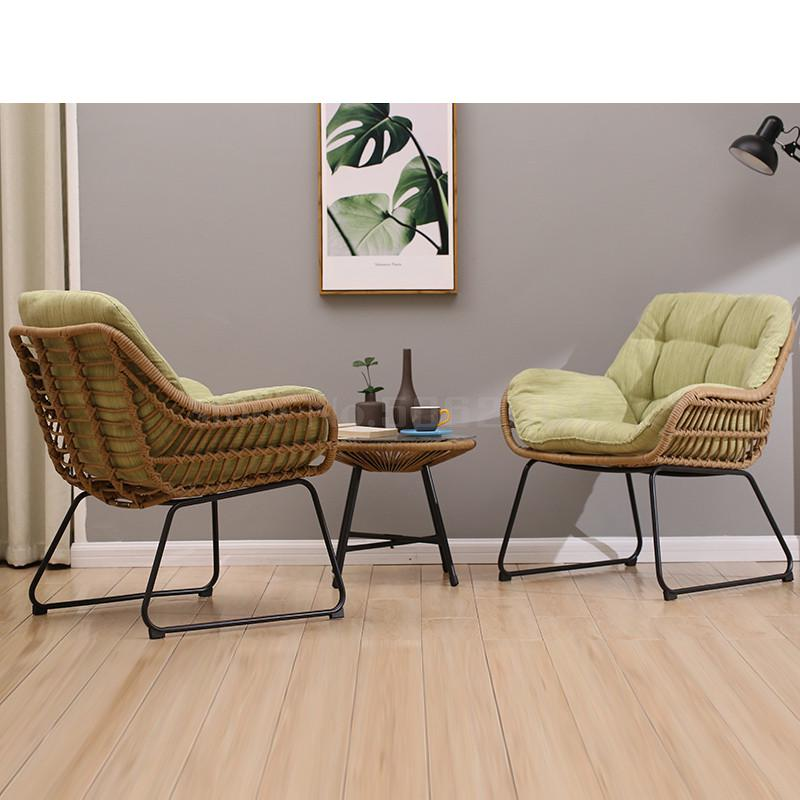 Home wicker chair three-piece leisure balcony high-elastic cushion table and chairs simple small coffee table combination