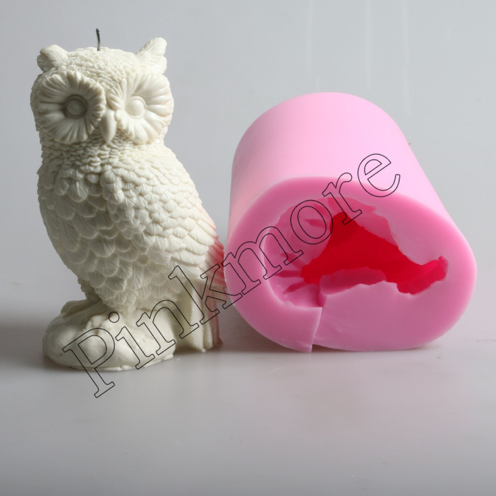 Hibou en forme de grand 3D silicone bougie moule résine artisanat argile outils sel sculpture moule savon bougie moules