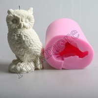 Owl shaped large 3D silicone candle mold resin craft clay tools salt carving mould soap candle molds