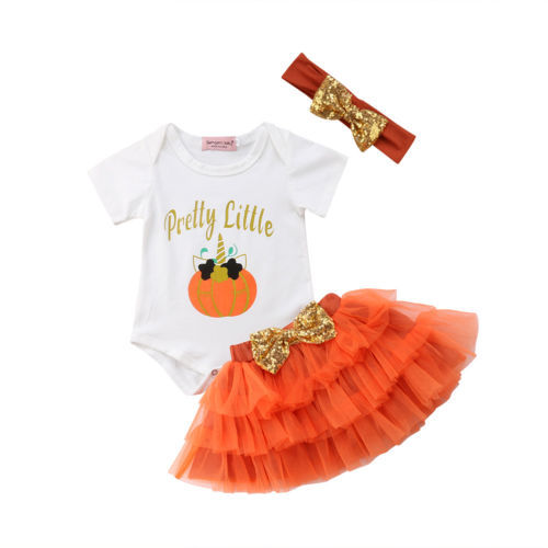 e1347ce2d 3PCS Newborn Toddler Baby Girl Halloween Outfits Clothes Unicorn ...