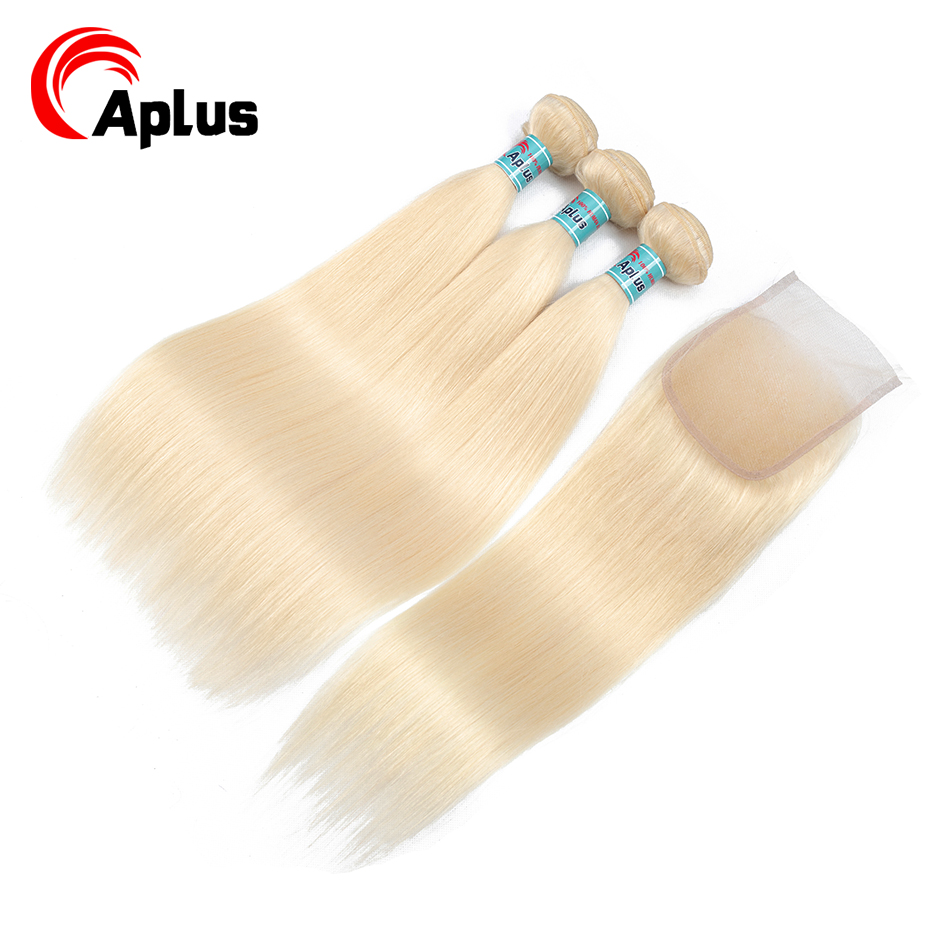 613 Blonde 3 Bundles With Closure Straight Malaysian Hair Bundles With Closure With Baby Hair Aplus 100% Non Remy Human Hair