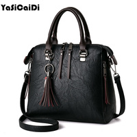 YASICAIDI Soft Pu Leather Women Shoulder Bag Female Tassel Pendant Women Handbag Double Zipper Large Women