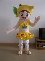 High Quality Pretty Lemon Girl Fancy Dress Adult Character Cosplay Mascot Costume Free Shipping