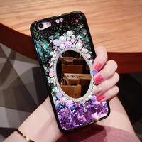 Shine Palace 3D Mirror Diamond Pearl Hard Plastic Mobile Phone Cases For iPHone 6 6S 6Plus 7 7Plus Protective Shell Coque Funda