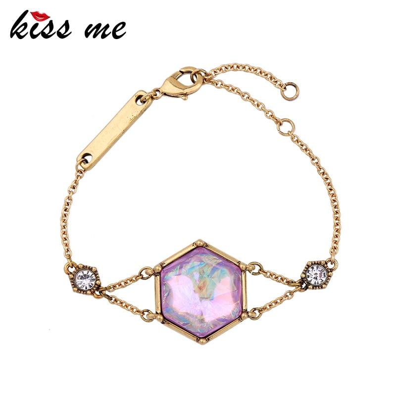 KISS ME Women Simple Charm Bracelet Unique Antique Gold Color Vintage Jewelry Women Bijoux