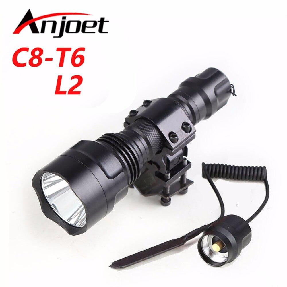 Linterna táctica C8-T6/L2/Q5 Rifle de caza linterna escopeta iluminación tiro pistola + montaje + control remoto interruptor 18650 para Camping de senderismo