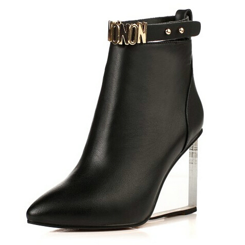 luxury designer genuine leather high heel boots