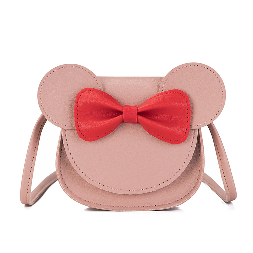 Heopono Cute Bow Designed Small Crossbody Satchel Bag Good Quality Children PU Leather Funky Kids Girl Messenger Bag