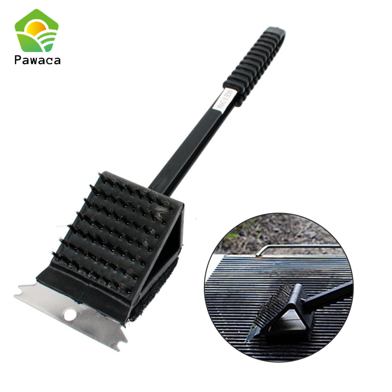 Pawaca 3 In 1 Copper Wire Bbq Grill Brush Long Handle Stainless Steel Barbecue Grill Oven Cleaning Brush Bbq Cleaner Accessories