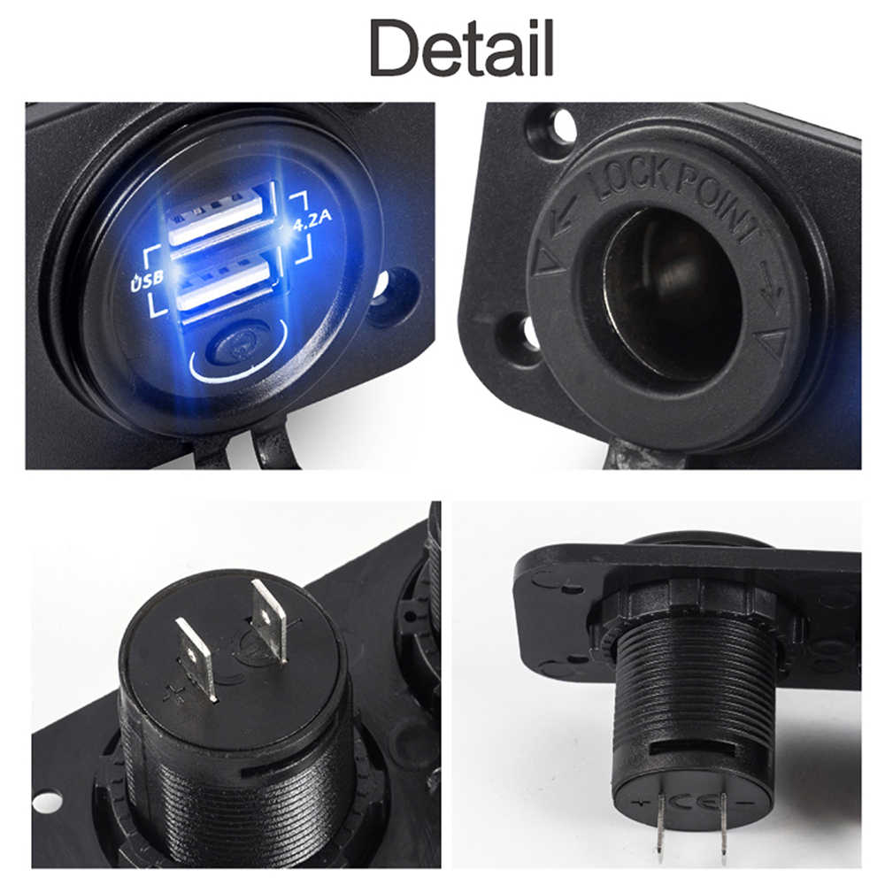 Accessories 12V/24V USB Cigarette Lighter Socket Motorcycle Dual 2 USB motocross Car Cigarette Lighter Socket Splitter