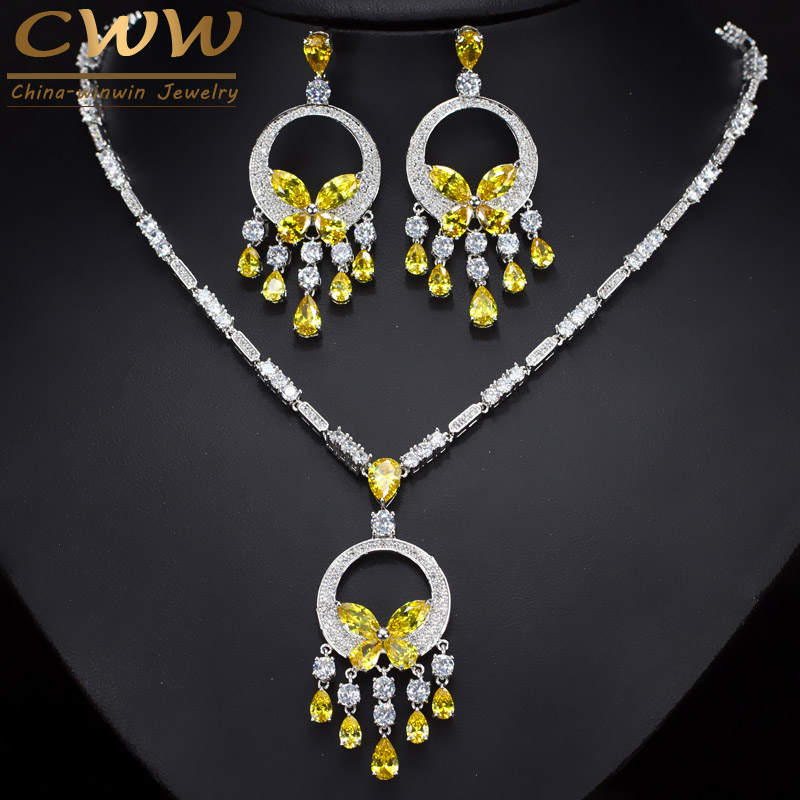 CWWZircons Noble Yellow Cubic Zirconia Stone Tassel Drop Big Necklace And Earring High Quality Women Prom Party Jewelry Set T026 cwwzircons long water drop cubic zirconia stone big vintage royal wedding necklace and earring jewelry set for brides t205