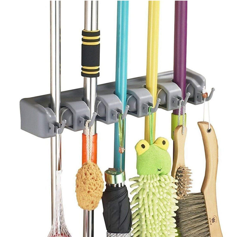 Broom MOP Holder,Multi-purpose Garage Storage Hooks Wall Mounted Organizer Hanger Rack Tool with 5 Position 6 Hooks,Perfect for Garage Basement or Laundry Room Kitchen