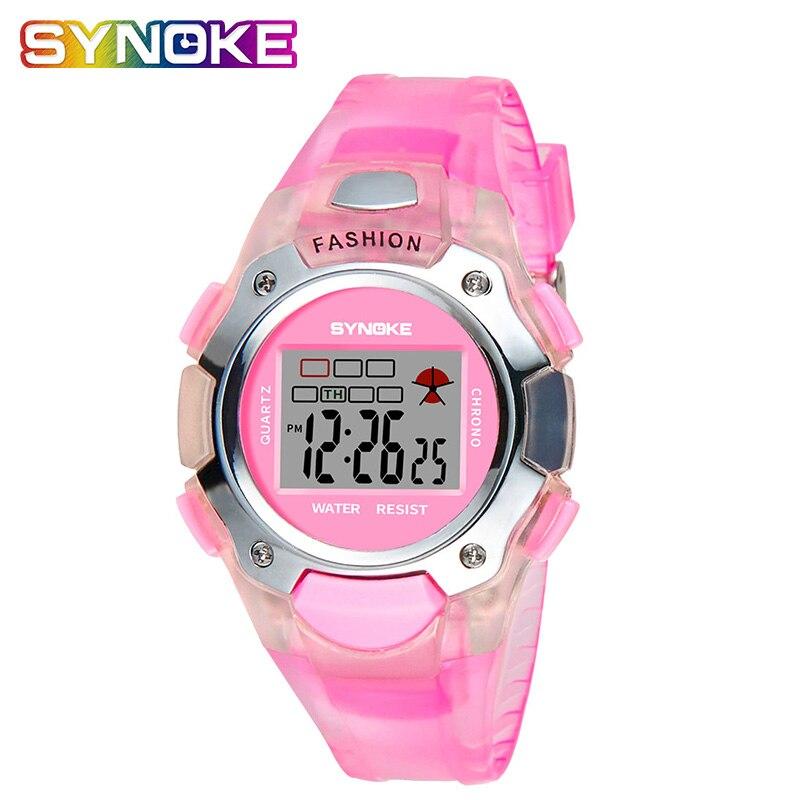 SYNOKE 2019 Cartoon Watches Kid Girls Relogios  Silicone Strap Children Led Digital Wrist Watch Girls Watches Kids Digital